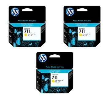 Tinta hp 711 cz136a color amarillo 3pack