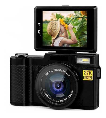 Videocamara digital 1080p 24mp 15 fps con pantalla giratoria