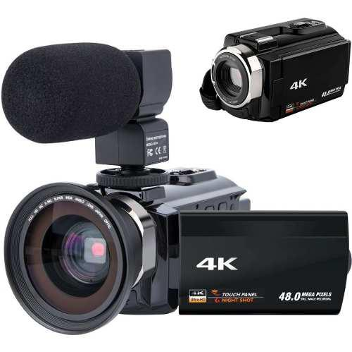 Videocámara 4k wifi visión nocturna lcd touch wide angle