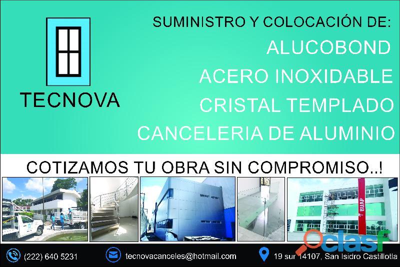 Tecnova canceleria de aluminio y cristal