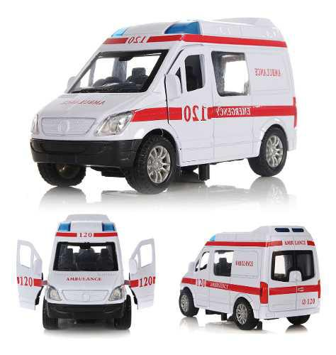 Blanco ambulancia de vehículos médicos juguetes 1/32