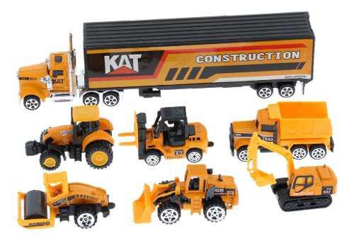 Camión contenedor con 6 piezas de juguete de aleación de