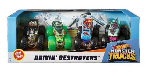 Hot wheels monster trucks 1:64, paquete de 4 vehículos (los