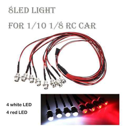 Kit de 8 led blanco rojo luz faro trasera para 1/10 1/8 rc c
