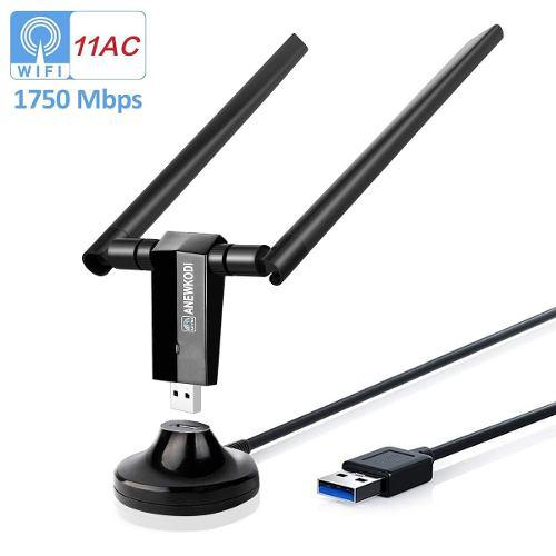 Anewkodi ac1750mbps adaptador usb wifi usb 3 0 antena doble
