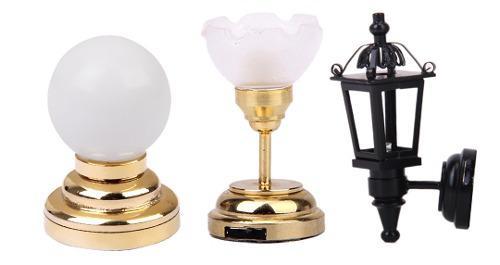3pcs escala 1:12 miniaturas led lámpara de pared y de techo