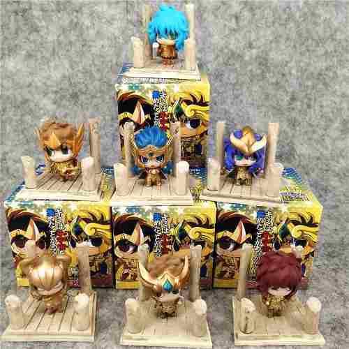 7pcs mini action figure caballeros del zodiaco saint seiya