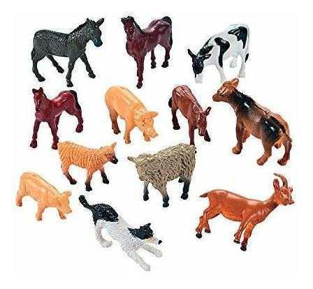Animales de granja miniatura juguete cifras (1 pack de 12