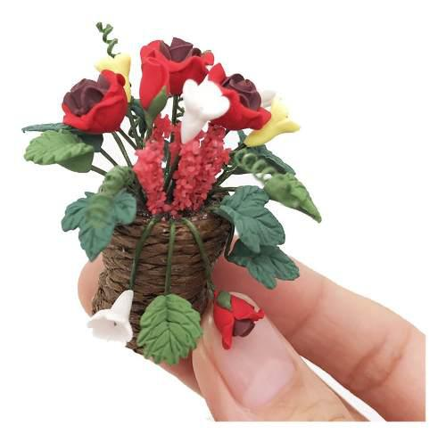 Artificial 1/12 casa de muñecas en miniatura falsa planta