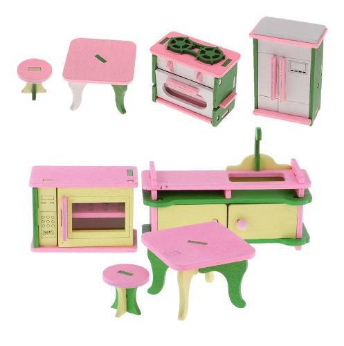 Casa de muñecas de madera, muebles en miniatura para la