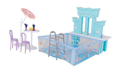 Casa de muñecas en miniatura muebles de la piscina listo