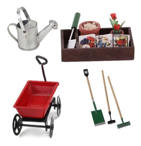 Kit de carrito en miniatura caja de jardinería de madera