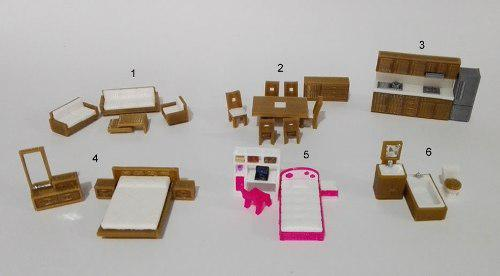 Kit muebles miniatura maquetas/casa muñecas, 25pz esc.