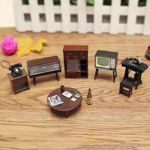 Muebles tel?fono m?quina de coser en miniatura 8 piezas