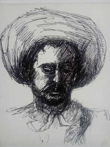 Arte. Pancho Villa. Dibujo A Pluma (bolígrafo). Original.