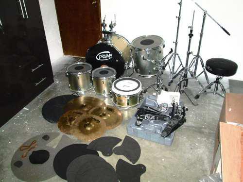 Batería drums con platos pedal doble muff practicadores