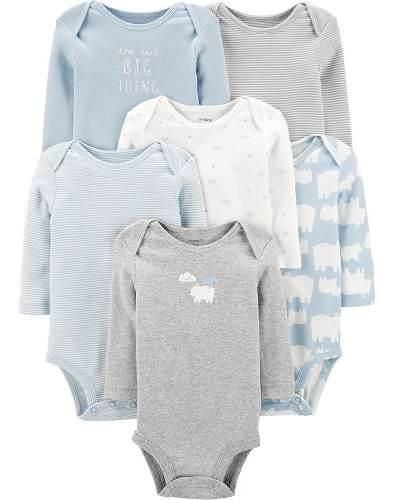 Carters set 6 pañaleros manga lga bebe niño ropa americana