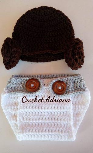 Gorro y calzoncito leia crochet