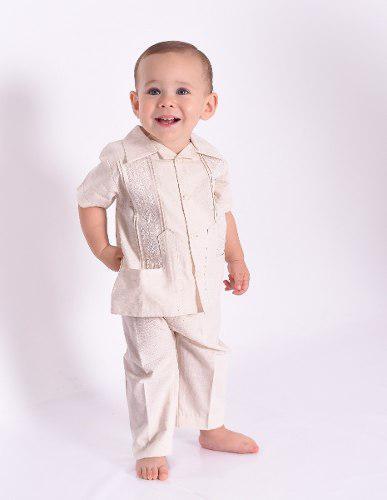 Guayabera y pantalon lino bebé