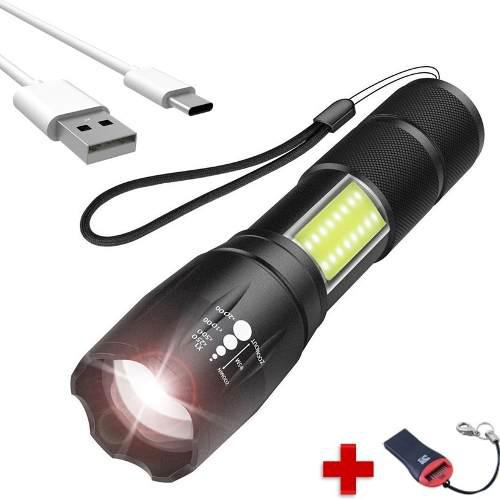 Mini lámpara táctica zoom led t6 cob recargable usb 2full