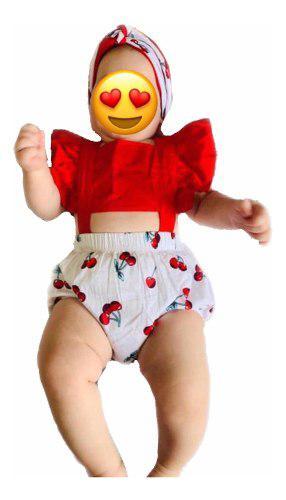 Ropa casual moda para niñas bebé pañalero olanes rojo
