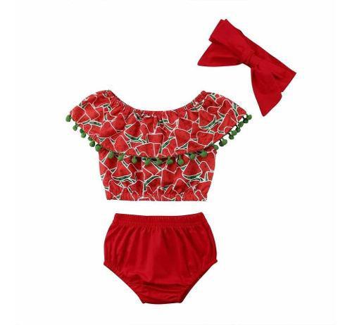 Ropa moda para niña bebe estampado sandias conjunto rojo