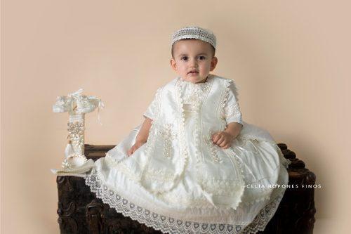 Ropón bautizo fino niño en seda mod. 156 - ropones celia