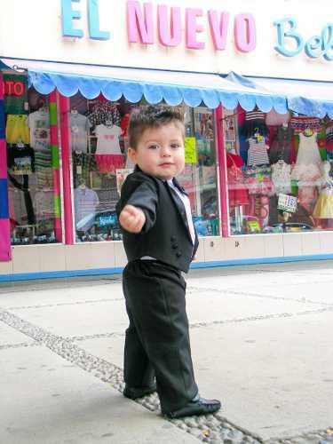 Smoking corto (sin cola) negro bebé niño 0 meses a 4 años