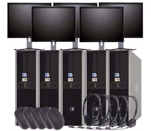 Paquete cibercafe 5 computadoras 4gb + servidor monitor 22