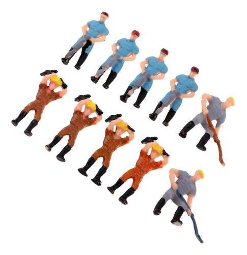 10pcs figura figurita trabajador modelo accesorio para