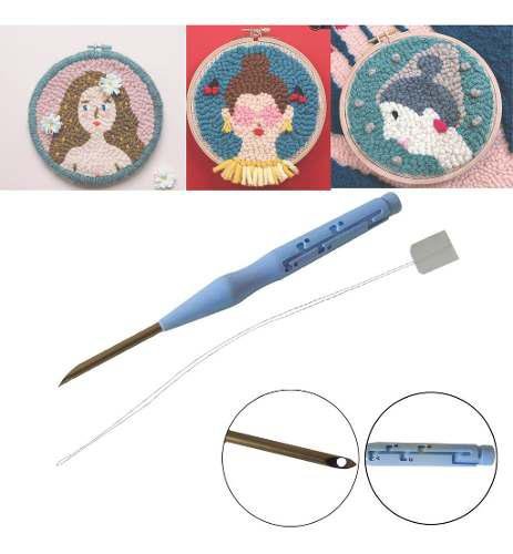 Aguja de punzón ajustable feliz costura de bordado aguja de