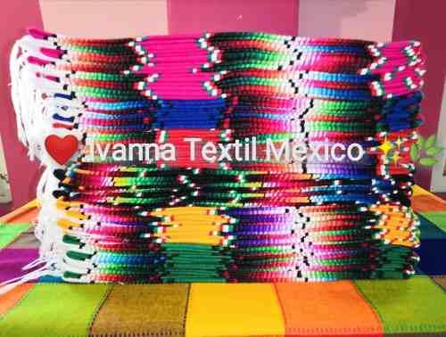 Camino de mesa de sarape artesanal mexicano 60cmx2m 12 pzas