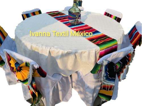 Camino de mesa sarape mexicano económico 38cmx2.10m 50 pzas