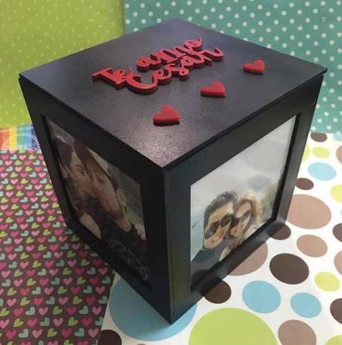 Cubo/caja portaretratos 15 cm, mensaje grabado por dentro
