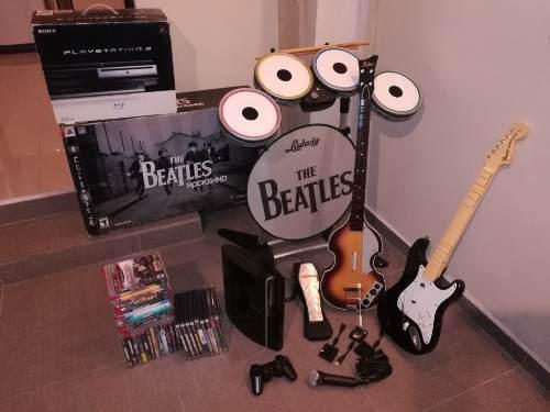 Playstation 3 Fat Retro, Rock Band The Beatles, 30 Juegos