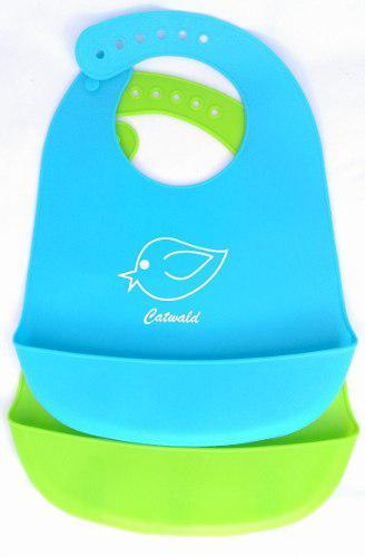 Baberos De Silicona Plásticos Para Bebes 2 Und Azul Y Verde