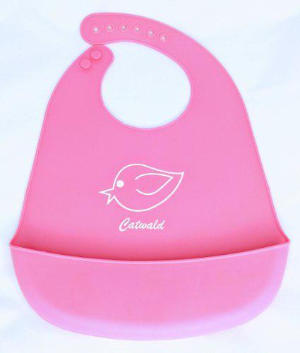 Baberos De Silicona Plásticos Para Bebes 2 Und Rosa/naranja