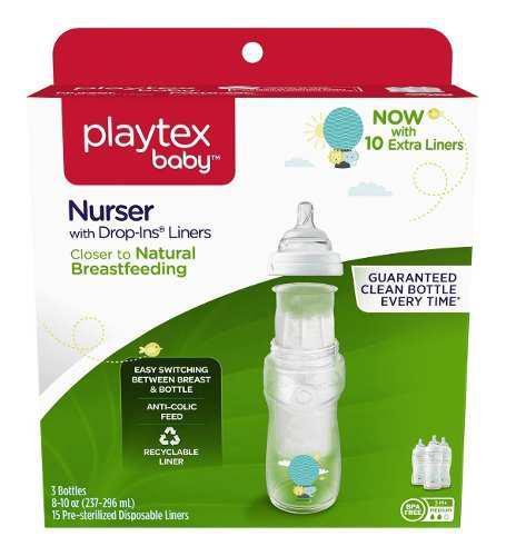 Biberones playtex baby nurser drops ins 8-10 oz 3 pzs globos