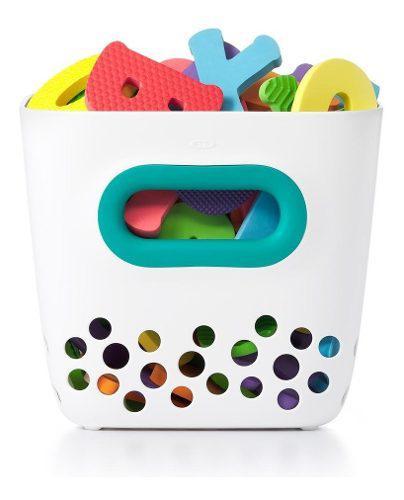 Cesta de juguetes para el baño color blanco y agua