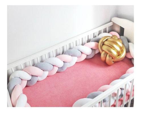 Cojín suave para bebés cuna trenzada parachoques nudo