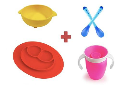 Kit de platos, vaso y cubiertos, antidelizable, envío