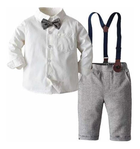 Conjunto bebé niño traje formal gris pantalón camisa