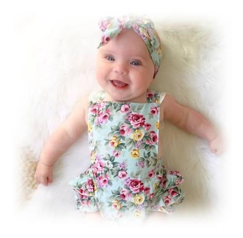 Conjunto de bebe niña vestido y diadema moño floral