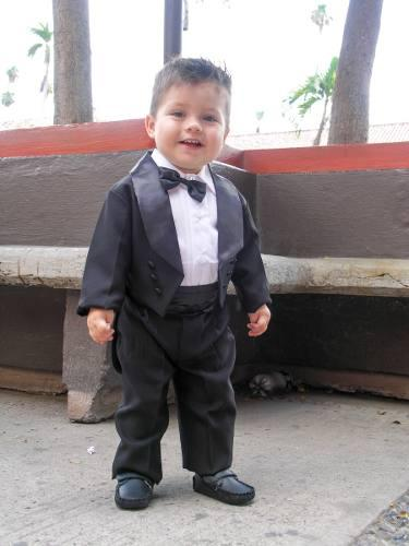 Traje smoking negro formal boda para bebé de 00 a #4 niño