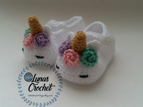 Zapatos unicornio bebe niña tejidos crochet