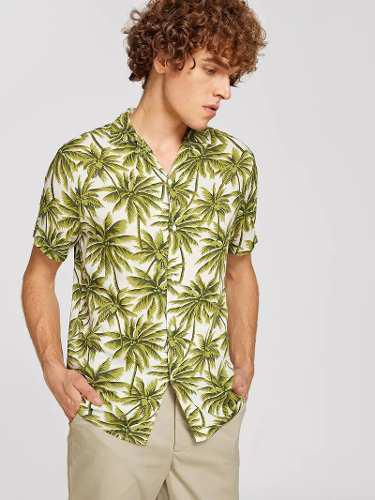 Camisa hawaiana tropical estampado palmeras hombre playa