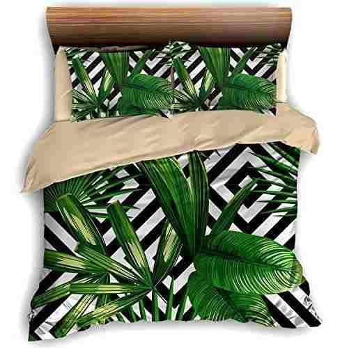 Faitove tropical palm tree leaves 3 piece bedding set 200cm