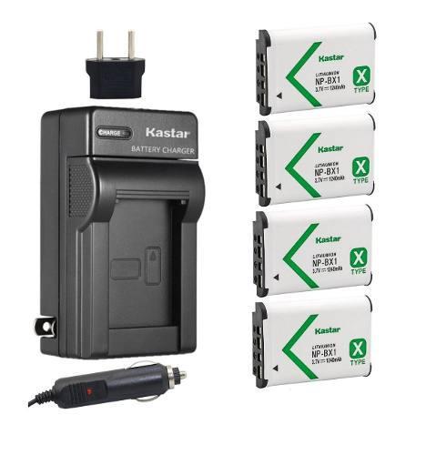 Kit 4 baterías y cargador sony np-bx1 marca kastar