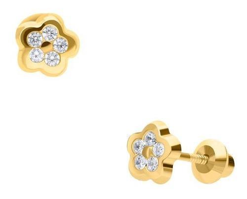 Broqueles bizzarro de oro amarillo de 14k con zirco-bzr23556
