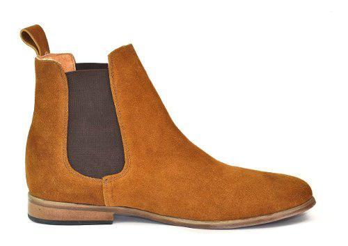 Botín chelsea boots piel gamuza color canela andre bocassi
